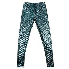 Women Sexy Slim Elasticity Fish Scale Pattern Leggings Pencil Pants Trousers