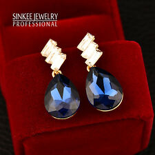 6 Color Teardrop Blue Crystal Women Dangle Earrings Bridal Wedding Brand Jewelry