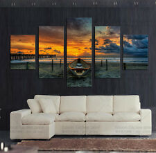 HUGE MODERN ABSTRACT OIL PAINTING PRINTED ON CANVAS SEASCAPE WITH SHIP ARTWORK