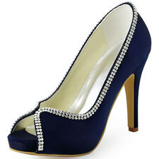 EP11083 Navy Blue Peep Toe High Heel Rhinestones Satin Evening Party Court Shoes