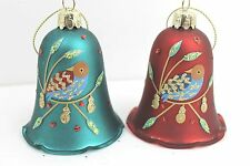 GISELA GRAHAM CHRISTMAS PAINTED GLASS PARTRIDGE BELL BAUBLE DECORATION