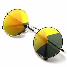 John Lennon Sunglasses Round Shades Gold Frame Mirror Lenses Retro