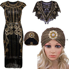 1920s Flapper Dress Great Gatsby Vintage Fringe Party Sequins Christmas Costumes