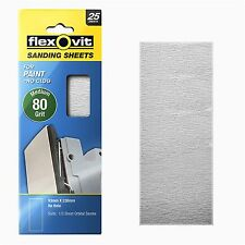 Flexovit 1/3 ORBITAL SANDING SHEET 25Pcs For PAINT, WHITE - 80, 120 Or 180 Grit