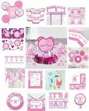 Baby Shower Pink Baby Girl's Shower With Love Party Plates Napkins Tableware