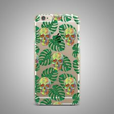 Floral Leaves Skull Design TPU Rubber Silicone Clear Cover Back Case For iPhone