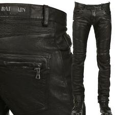 CHIC22 Men's Slim Fit Genuine Leather Motorcycle Pants Zipper Trousers 28 & 38