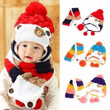 Winter Baby Warm Hat Scarf Set Cute Bear Crochet Knitted Caps Infant Boys Girls