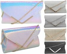 Womens Holographic Silver Faux Snakeskin Envelope Clutch Crossbody Eveninght Bag