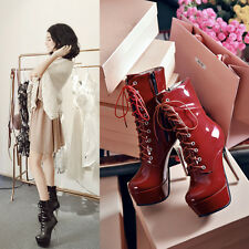 Womans Sexy Stilettos High heel Platform Lace up Ankle Party Boots