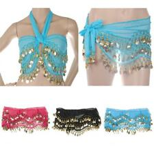 Women Belly Dance Belt Hip Scarf Wrap Belt Skirt with Gold Coin Black/Pink/Blue