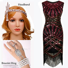 Ladies 1920s Flapper Dress Gatsby Downton Abbey Fringe Red Sequins Beads Costume