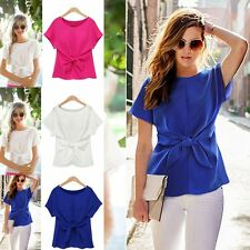New Fashion Women Ladies Chiffon Short Sleeve T Shirt Casual Tops Bowknot Blouse