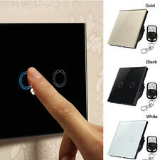 2Gang 1Way RF Crystal Glass Switch Remote Control Lighting Wireless Touch Switch