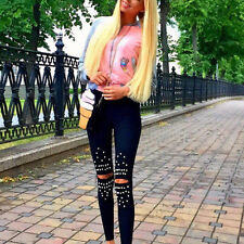 Hot Fashion Women Black Legins Skinny Ripped Cut Out Knee Beading Leggings S-XL