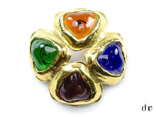 AUTHENTIC CHANEL Vintage Multicolored Glass Poured Cluster Brooch 11-1006