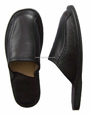 New Black Mens Leather Slippers Scuffs Shoes Wool Sheepskin size 7 8.5 9 10 11