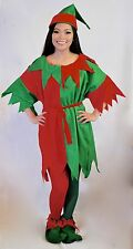 5 Pc Set ADULT ELF CHRISTMAS COSTUME RED?GREEN Size 6-8, 8-10, 10-12, 12-14