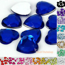 Heart (3mm-25mm) Acrylic Flat Back Facet Rhinestone Scrapbooking Craft - 50pcs