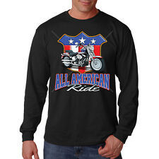 All American Ride USA United States Motorcycle Biker Long Sleeve T-Shirt