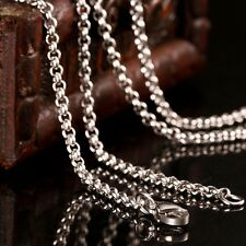 2.5mm Mens Punk Biker 316L Stainless Steel Silver Curb Chain Necklace Jewelry