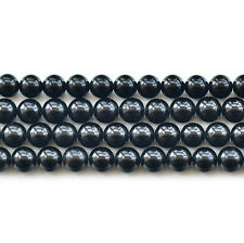 Natural 5A Black Tourmaline Gemstone Round Beads 15""