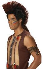 AMERICAN INDIAN NATIVE WARRIOR CHEROKEE MOHAWK BROWN WIG COSTUME ACCESSORY
