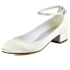 FC1613 White Ivory Closed Toe Chunky Heel Ankle Strap Satin Wedding Bridal Shoes