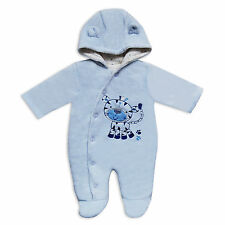 Baby Boys Blue Velour Snowsuit / Pramsuit with Faux Fur and Baby Giraffe Design