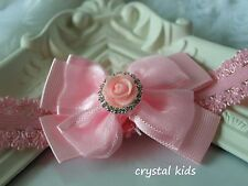 Baby Girls Pink Sparkly Lacy Elasticated Headband 3 inch Bow * HANDMADE *