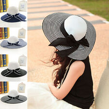 Womens Bow Summer Wide Brim Straw Cap Floppy Foldable Striped Sun Beach Hat Hot