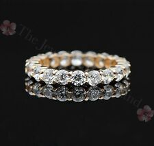 Solid 14K Yellow Gold Round Brilliant Cut Eternity Engagement Wedding Band Ring