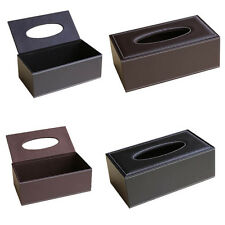Home Car Office Tissue Box Paper Cover Case Napkin Holder Brown Black Leather