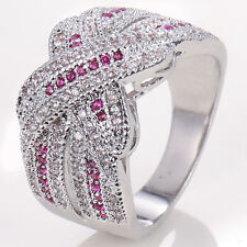 925 Silver Pink&Clear Sapphire Infinity Ring Jewelry Wedding Engagement Size6-10