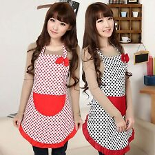 Women Lady Lovely BowKnot Dot Kitchen Restaurant Bib Cooking Aprons with Pockets