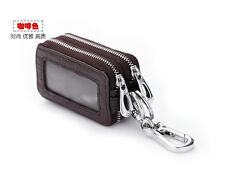 Genuine Leather Men Womens Double Key Case Leather Car key Wallet Holder Chain