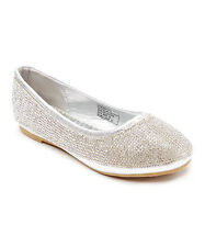 New Girls Flat Silver Shoes Mini Rhinestone Ballet/Size 10Toddler 5 Youth Noslip