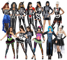 New Adult Womens Fever Sexy Skeleton Bones Outfit Halloween Fancy Dress Costumes