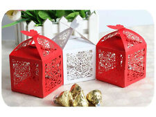 Red White Lace Wedding Favour Flat Package Boxes - Brand New Gift 10 x Boxes