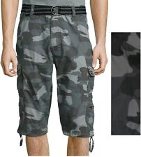 Plugg Mens Ripstop Messenger Cargo Shorts Belted Cotton Camo sizes 29 30 NEW