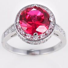 925 Silver Ruby Topaz Ring Jewelry Wedding Engagement Size 6-10