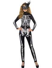 Womens Skeleton Costume Halloween Sexy Fancy Dress Ladies Fever Outfit