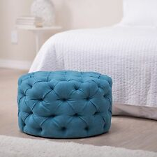Round Ottoman Foot Stool Retro Tufted Seat Coffee Table Sturdy Furniture Fabric