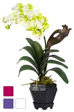 Vanda Silk Orchid Plant with Planter in 3 colors by Nearly Natural | 24 inches