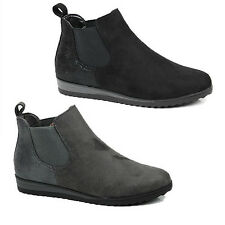 WOMENS LADIES LOW WEDGE HEEL PULL ON CHELSEA STYLE ANKLE BOOTS SHOES SIZE 3-8