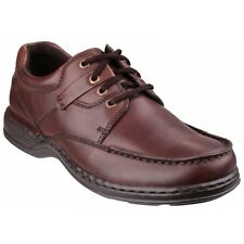 Hush Puppies RANDALL Mens Dual Fit Leather Lace Up Flexible Comfort Shoes Brown