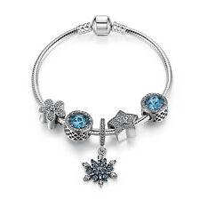 Authentic 925 Sterling Silver Charm Bracelets with Blue Crystal Snowflake Charms
