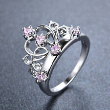 Pricess Crown Pink Sapphire Wedding Ring 10KT White Gold Filled Jewelry Size 6-9
