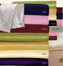HOTEL COLOR 1000TC SATIN SILK DUVET COVER / FITTED SHEET SET SOLID CHOOSE SIZE