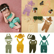 Newborn Boy Girl Baby Crochet Knit Costume Romper Jumpsuit Hat Photo Prop Outfit